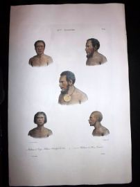 d'Urville 1835 Folio Hand Col Print. Natives of New Ireland, Papua New Guinea.